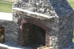 Hewn Log Fireplace